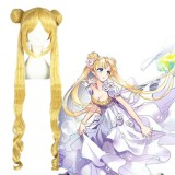 100cm Long Curly Blonde Sailor Moon Synthetic Anime Cosplay Hair Wig CS-022A
