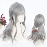 60cm Long Curly Gray Mixed Synthetic Party Hair Wigs Heat Resistant Anime Cosplay Lolita Wig CS-813A