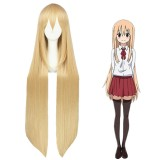 100cm Long Straight Blonde Himouto! Umaru Chan Doma Umaru Wig Synthetic Anime Cosplay Wigs CS-262A