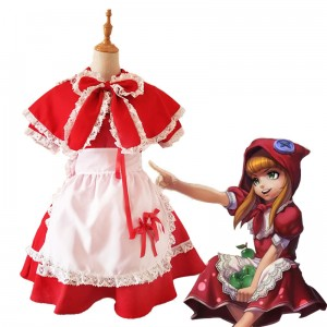 LOL Game Cosplay Costume Little Red Riding Hood Anne Anime Costume Halloween Lolita Maid Uniform Dress COS-184