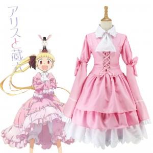 2017 New Alice Anime Cosplay Costumes Kashimura Sana Costume Pink Lolita Maid Dress COS-190