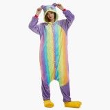 Adult Cartoon Flannel Unisex Rainbow Panda Onesie Animal Onesies Anime Kigurumi Costume Pajamas Sets KT098