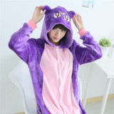 Adult Cartoon Flannel Unisex Purple Cat Onesie Animal Onesies Anime Kigurumi Costume Pajamas Sets KT102