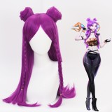 70cm Long Purple League of Legends LOL KDA Kaisa Wig Synthetic Anime Cosplay Wigs 2Ponytails CS-119K