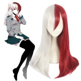 65cm Long Straight Silver&Red Wig My Hero Academia Todoroki Shoto Synthetic Anime Cosplay Wig CS-384C