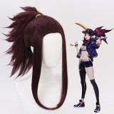 45cm Medium Long Dark Purple Mixed LOL KDA Akali Wig Synthetic Anime Cosplay Wigs CS-119I