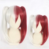 65cm Long Silver&Red My Hero Academia Cosplay Todoroki Shoto Wig Synthetic Anime Wigs With 2Ponytails CS-384G