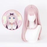 65cm Long Straight Light Pink Kaguya Sama Fujiwara Chika Wig Synthetic Anime Cosplay Wigs CS-472A
