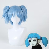 35cm Short Blue Shiota Nagisa Sally Face Wig Synthetic Anime Cosplay Wigs With Two Ponytails Wig CS-188B