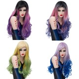 2019 New Fashion 70cm Long Curly Multi Colors Mixed Anime Cosplay Wig  Synthetic Halloween Lolita Wigs