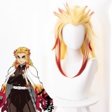 50cm Long Blonde&Red Demon Slayer Rengoku Kyoujurou Wig Synthetic Anime Cosplay Wigs With One Ponytail CS-471K