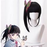 40cm Medium Long Black Demon Slayer Tsuyuri Kanawo Wig Synthetic Anime Cosplay Wig With One Ponytail CS-471J