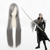 100cm Long Straight Gray Final Fantasy VII Sephiroth Wig Synthetic Anime Cosplay Wigs CS-035A
