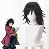 55cm Long Black Mitsuri Kanroji Anime Tomioka Giyuu Wig Synthetic Cosplay Hair Wigs With One Ponytail CS-471I