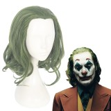 35cm Short Curly Green Mixed The Joker Movie Arthur Fleck Wig Synthetic Anime Cosplay Wig CS-413A