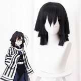40cm Medium Long Straight Black Demon Slayer Iguro Obanai Wig Synthetic Anime Cosplay Wigs CS-471R