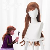 70cm Long Curly Brown Frozen II Wigs Anna Synthetic Anime Hair Cosplay Wig With Braid CS-135D