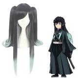 90cm Long Straight Black&Light Green Demon Slayer Tokitou Muichirou Wig Synthetic Anime Cosplay Wigs With 2Ponytails CS-471S