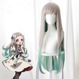 80cm Long Straight Silver Gray&Green Mixed Toilet Bound Hanako kun Nene Yashiro Wig Synthetic Anime Cosplay Wigs CS-423A