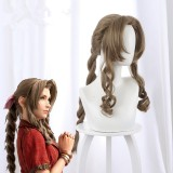 80cm Long Curly Flaxen Final Fantasy 7 Aerith Gainsborough Wig Synthetic Anime Cosplay Wigs CS-434A