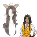 70cm Long Brown Disney Cosplay Twisted Wonderland Leona Kingscholar Wig Synthetic Anime Cosplay Wigs CS-447A