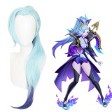 75cm Long Straight Light Blue Shauna Vayne Wig League of Legends LOL Spirit Blossm Anime Synthetic Cosplay Wigs With One Ponytail CS-119S