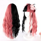 70cm Long Body Wave Pink Black Mixed Anime Wig Synthetic Cosplay Hair Wig Lolita Wigs For Girls CS-827A