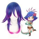 45cm Medium Long Blue Purple Mixed League of Legends LOL Anime Neeko Wig Synthetic Cosplay Hair Wigs CS-119T