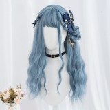 60cm Long Body Wave Gray Blue Mixed Anime Wig Synthetic Cosplay Hair Wig Lolita Wig For Girls CS-835C