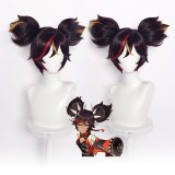 30cm Short Three Colors Mixed Genshin Impact Anime Xinyan Wig Synthetic Cosplay Hair Wigs With Two Ponytails CS-455P