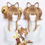 40cm Medium Long Light Brown Genshin Impact Yaoyao Wig Synthetic Anime Cosplay Wigs With 2Ponytails CS-455X