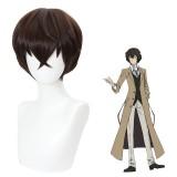 30cm Short Straight Dark Brown Bungo Stray Dogs Dazai Osamu Wig Synthetic Anime Cosplay Hair Wigs CS-477A