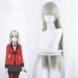 80cm Long Straight Light Gray Kakegurui Anime Momobami Ririka Wig Synthetic Cosplay Hair Wigs CS-076M