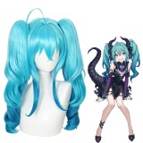 55cm Long Curly Lake Blue Mixed Vocaloid Hatsune Miku Wig Synthetic Anime Cosplay Wigs With 2Ponytails CS-481A